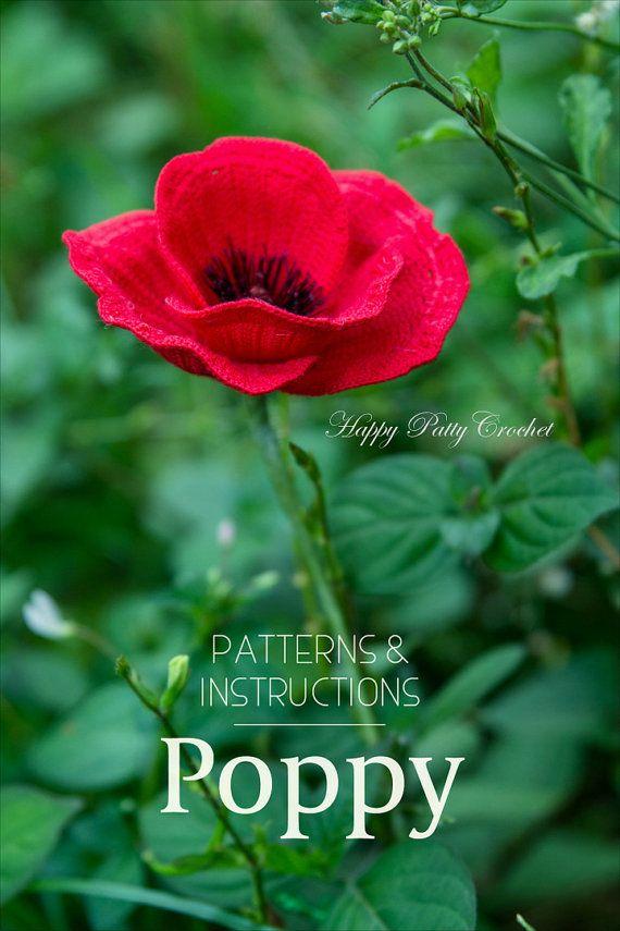Crochet Poppy Flower Pattern Crochet Flower by HappyPattyCrochet