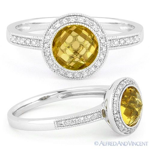 Gemstone 177020: 1.39Ct Round Citrine Diamond Pave Halo Setting Engagement Ring In 14K White Gold BUY IT NOW ONLY: $445.5