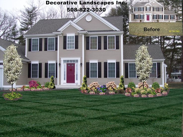 45 best images about front of home landscape designs on for Colonial landscape design