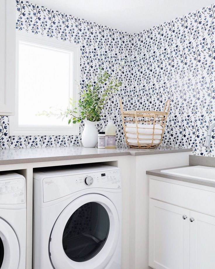 """Bria Hammel Interiors on Instagram: """"Surefire way to liven up any laundry room…"""