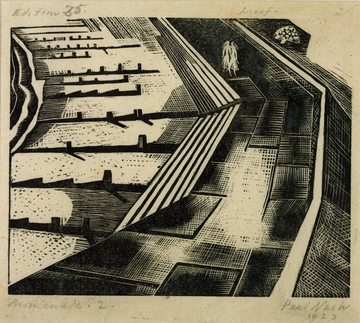 Artwork details: Artist: Paul Nash (1889‑1946);  Title: Promenade II; Date: 1920; Medium: Wood engraving on paper; Dimensions: image: 137 x 156 mm; Collection, Tate Gallery