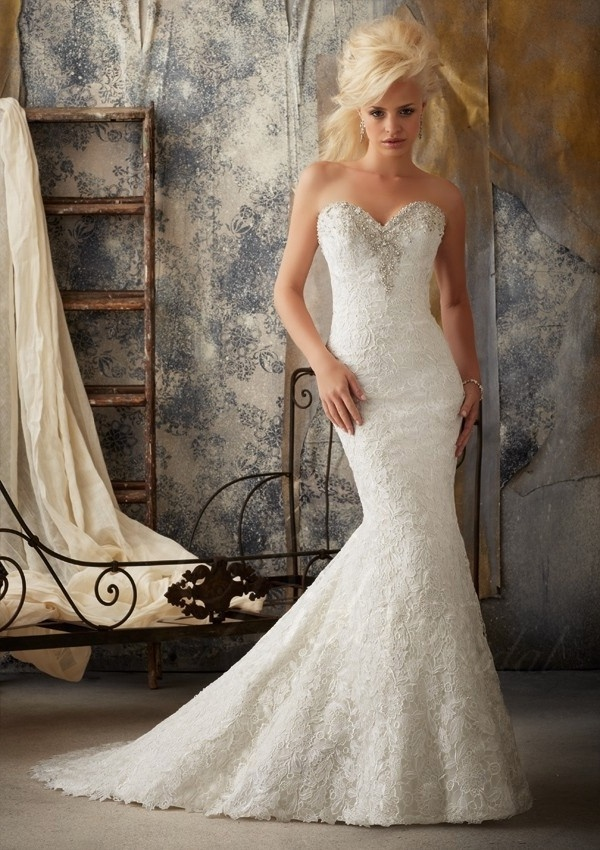 Mermaid Sweetheart Lace Court Train Wedding Dress
