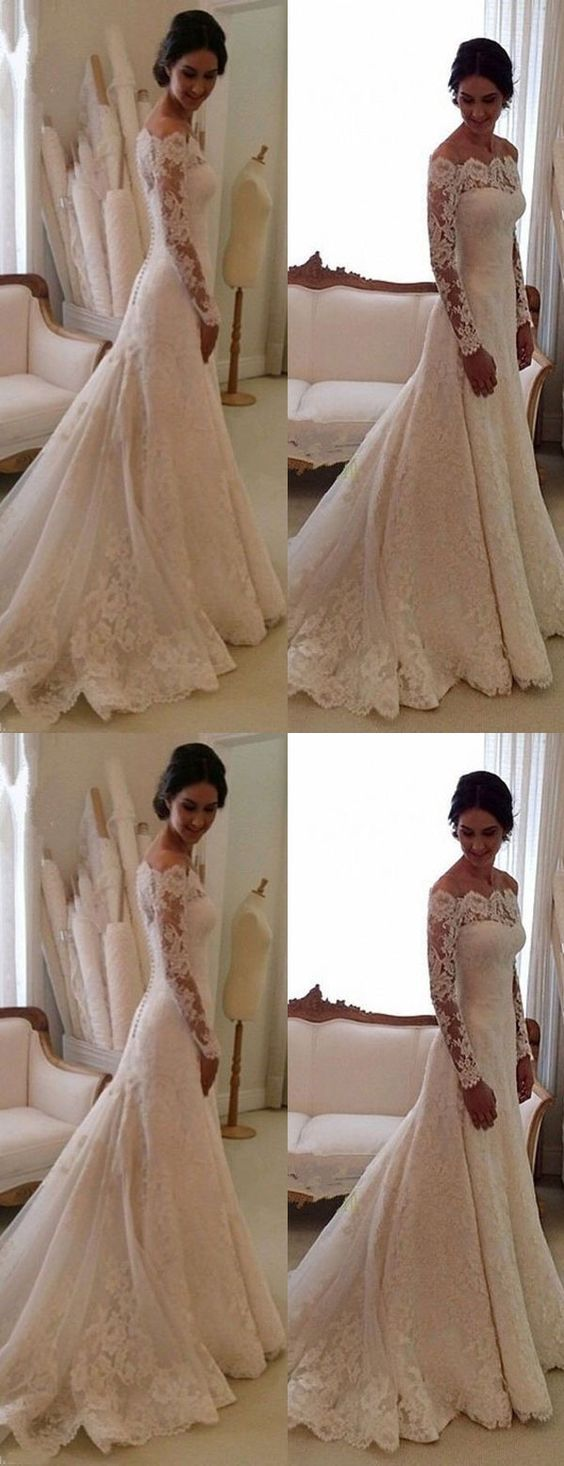 Long sleeved lace wedding dress  Elegant Bateau Long Sleeves wedding dresses fashion bodycon Sheath