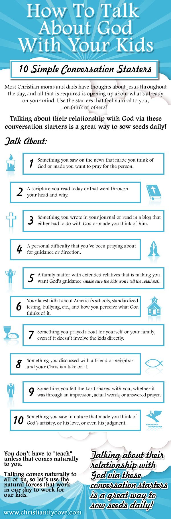 How To Talk About God With Your Kids – 10 Simple Conversation Starters. Talking about their relationship with God via these conversation starters is a great way to sow seeds daily!