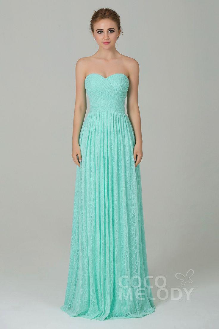 Fantastic Sheath-Column Sweetheart Natural Floor Length Lace Light Green Sleeveless Lace Up-Corset Bridesmaid Dress COZK16013 #weddingdress #cocomelody