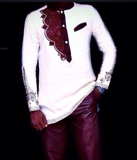Brown & White Mens African Wear set of long-sleeve shirt and trousers/pants with Embroidery. This outfit is perfect for all special occasions. It