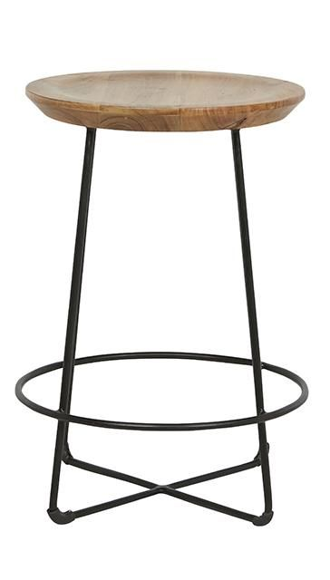 Shelter Round Barstools in Natural Acacia/Black #globewest #contemporary #style #barstool #furniture