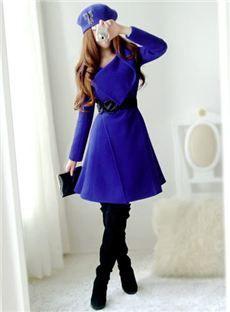 Dressyours.com|Royal Blue Turndown Collar Overcoat With Belt|US$ 62.09