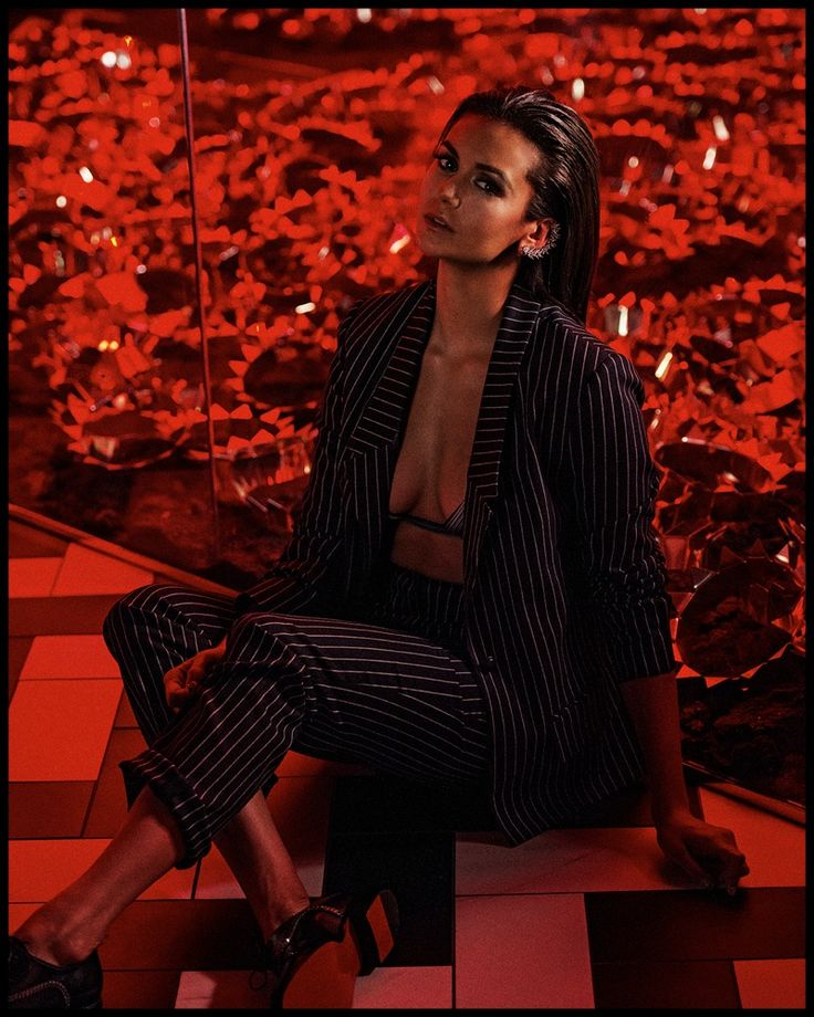 Nina Dobrev  Photography BRIAN HIGBEE Stylist DANI + EMMA BLAZER AND TROUSERS: YIGAL AZROUEL. BRA: LA PERLA. SHOES: CHRISTIAN LOUBOUTIN. EAR CUFF: KARMA EL KHALIL AVAILABLE AT ROSE ARK.  SHAREEMBED
