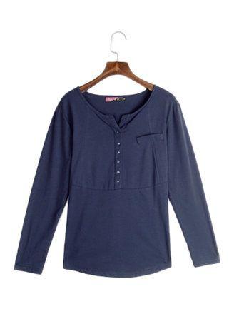 Women Casual Long Sleeve Solid Pure Color Bottoming Shirts at Banggood