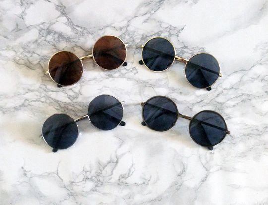 9bd64dd6b4b Round Flat Lens Gold Lennon Sunglasses Dark Hippie Glasses - Dempsey    Gazelle - 1