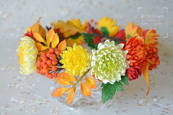 Wedding crown Bohemian Woodland Chrysanthemum от WisteriFlower