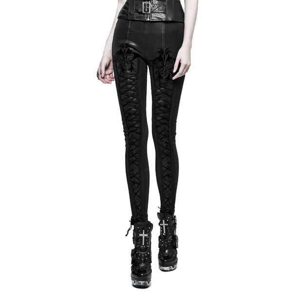 Nocturn Black Gothic Leggings by Punk Rave ($65) ❤ liked on Polyvore featuring pants, leggings, punk leggings, punk rock pants, goth pants, elastic waist pants and elastic waistband pants