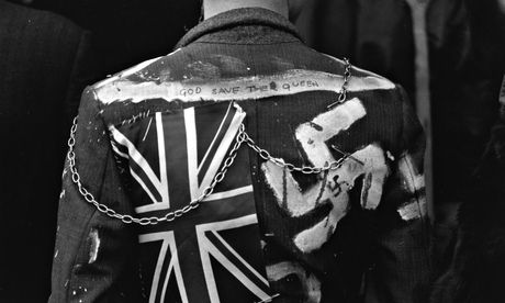 A UK punk's jacket, sporting the divisive swastika emblem.  Photograph: Chris Moorhouse/Getty Images