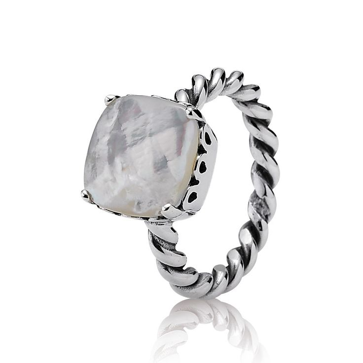 Elegant Sincerity Ring - Sterling Silver and Mother of Pearl - PANDORA - 190828MP