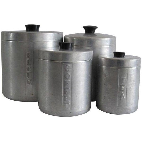 Aluminum Kitchen Canisters, Set of 4 ($199) ❤ liked on Polyvore featuring home, kitchen & dining, food storage containers, tabletop, tea canisters, flour cannister, aluminum food storage containers, sugar canister and tea cannister