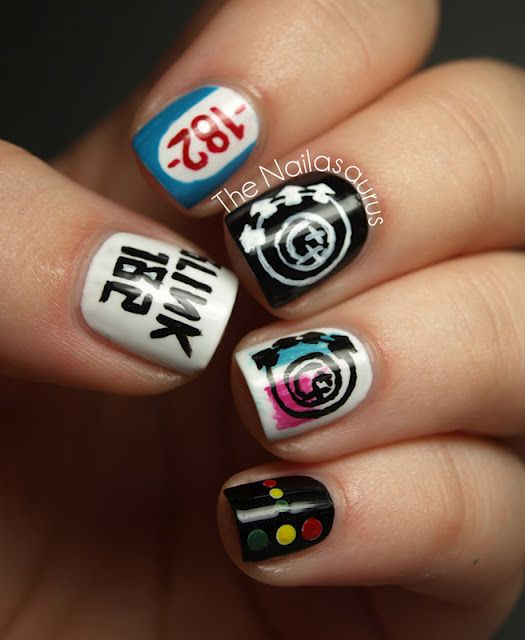 Awesome nail art by 'The Nailasauras'. Tribute to Blink 182. Sweet Nail Art blog.