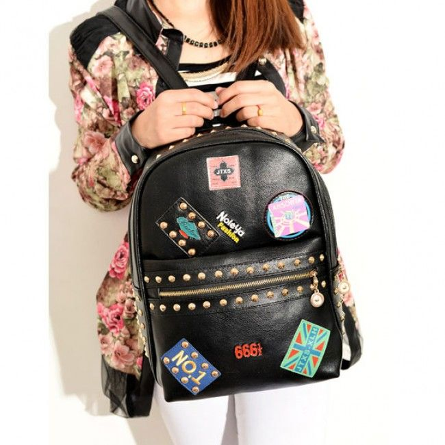 Wow! Punk Lovely Rivets Badge School Backpack only $32.99 from Atwish.com! I like it so much!!