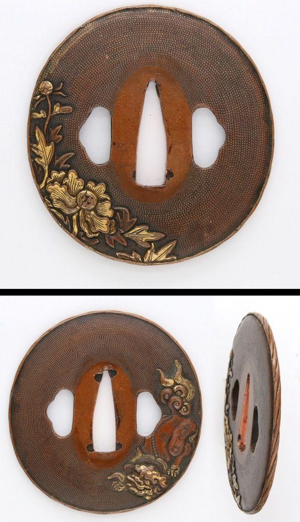 Muromachi Shishi-dog and peony flower carved on Suaka-Nanakoji plate with gold color.