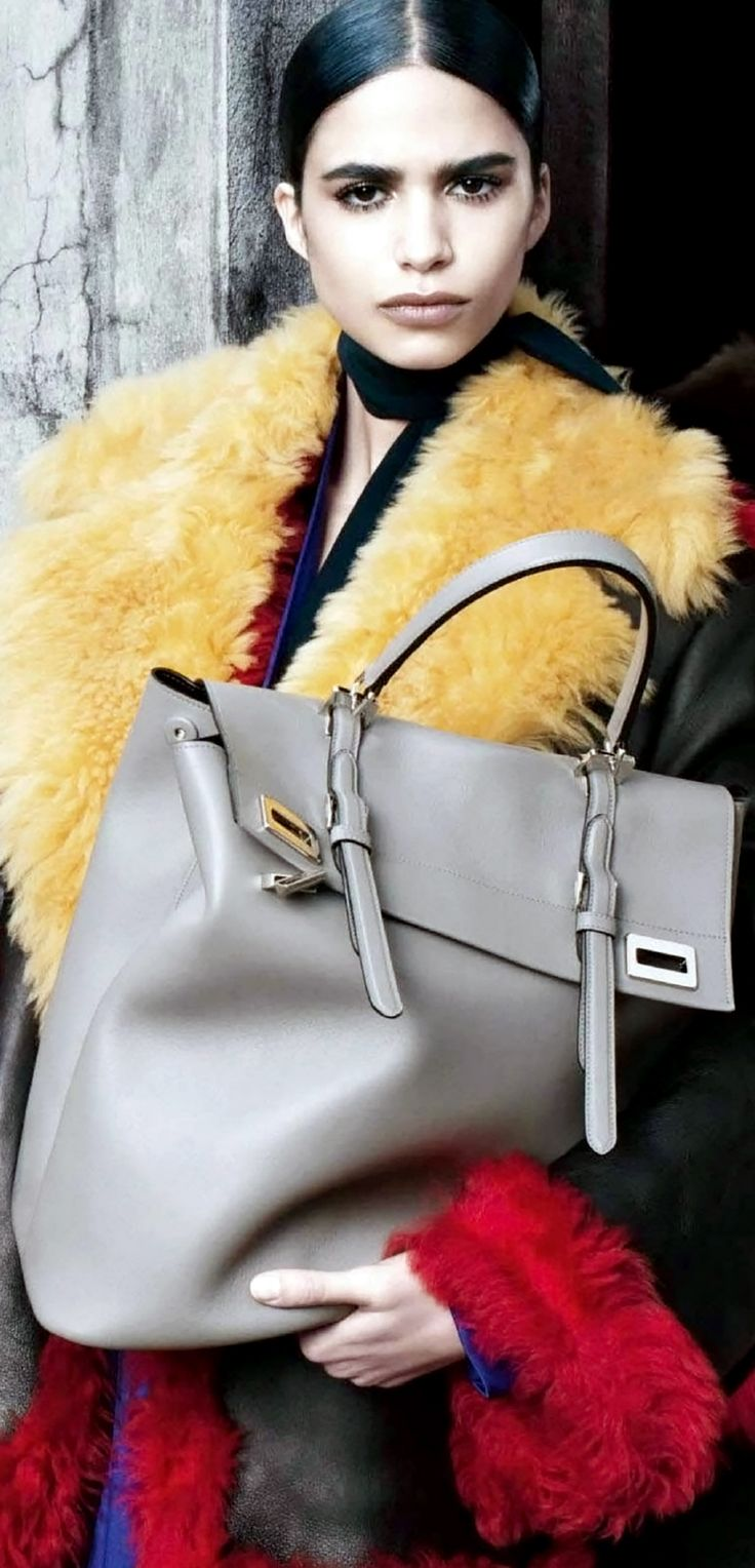 Prada Fall Winter 2014 Women's Advertising Campaign ~ Light Grey Large Leather Handbag #armcandy