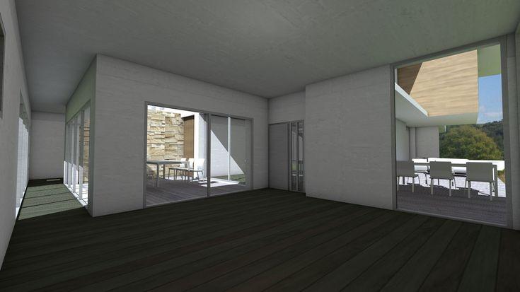 Cuisine ouverte sur patio central - Villa d'architecte à emboitement de cubes et bardages - Atelier d'architecture Scénario