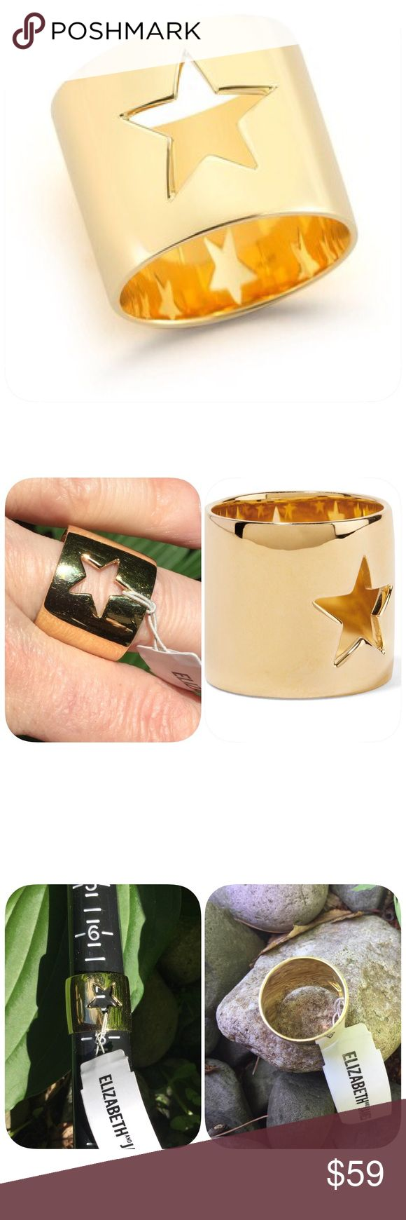 """Elizabeth & James Polaris 23k Gold Plated Ring 23K yellow gold plated star cutout band ring - Approx. 0.67"""" band width - Imported; Materials: 23K yellow gold ... approx 6.75 ring size see photos Elizabeth and James Jewelry Rings"""