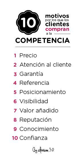 10 motivos por los que los clientes prefieren a la competencia