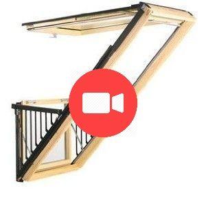 VELUX GDL PK19 3066 Skylight Balcony Roof Window, 37 1/16″ W x 99 1/4″ H Cabrio Series Lamina…