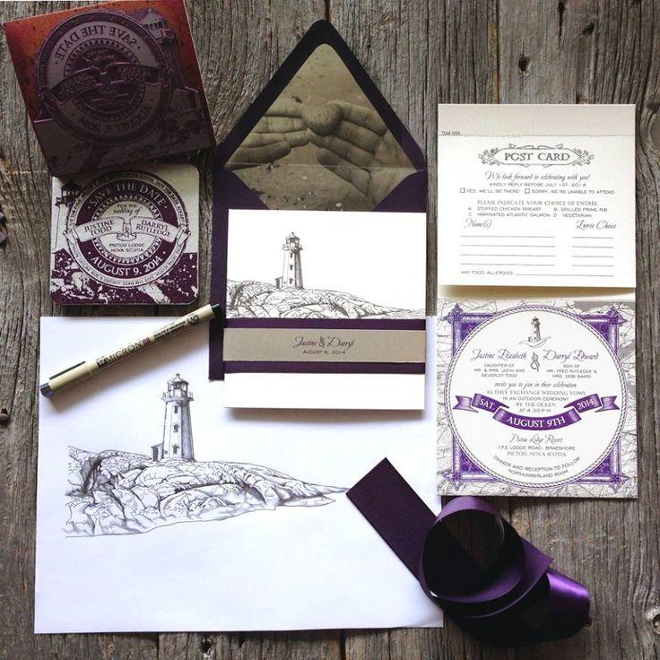 Nautical East Coast Wedding Invitation with Eggplant Purple ...