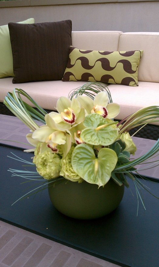 Green anthurium arrangement