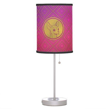 #Golden Embossed Chihuahua on pink /purple Table Lamp - #chihuahua #puppy #dog #dogs #pet #pets #cute