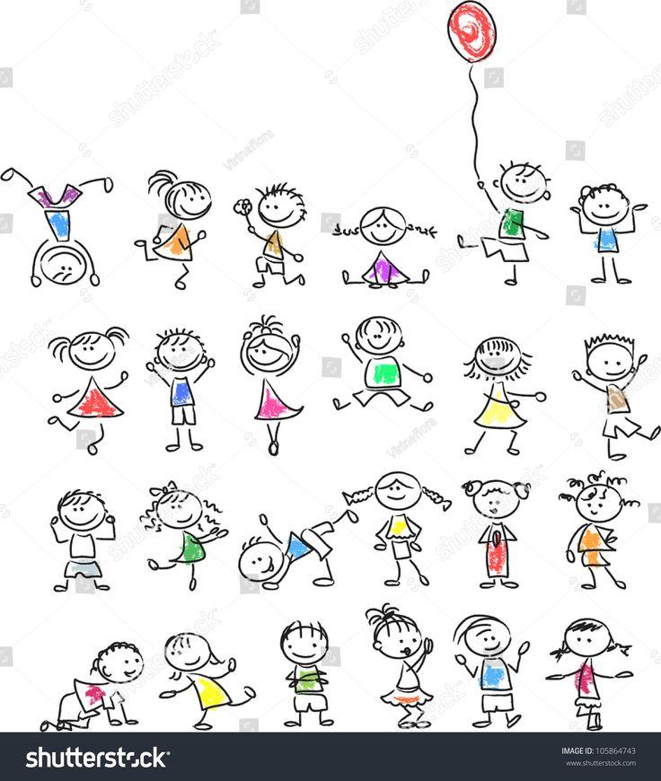 Cute happy cartoon kids