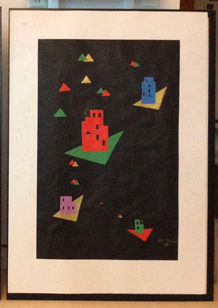 """Fra serien """"Et øjebliks klarsyn"""" VI, fra 1988/89 Akryl på glasvæv. Med passepartout 70 x 100 cm"""