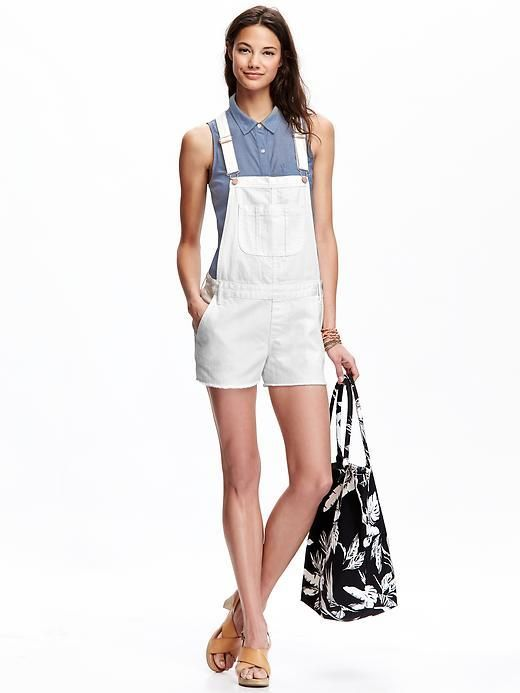 $15, White Denim Overall Shorts: Old Navy White Denim Shortalls. Sold by Old Navy. Click for more info: https://lookastic.com/women/shop_items/255328/redirect