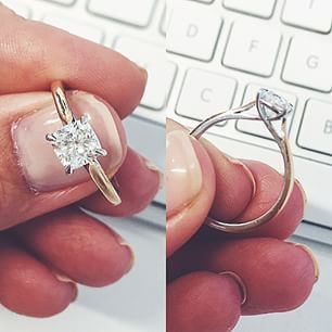Custom designed rose gold and white gold solitaire cushion cut engagement ring designed by Eivind Borgersen and made by Cushla Whiting, Melbourne Australia.