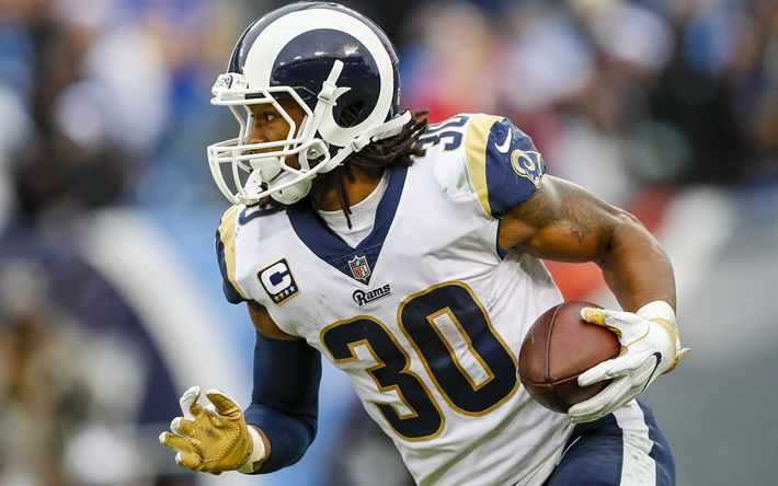 Download wallpapers Todd Gurley, 4k, american football, LA Rams, running back, NFL, Los Angeles Rams