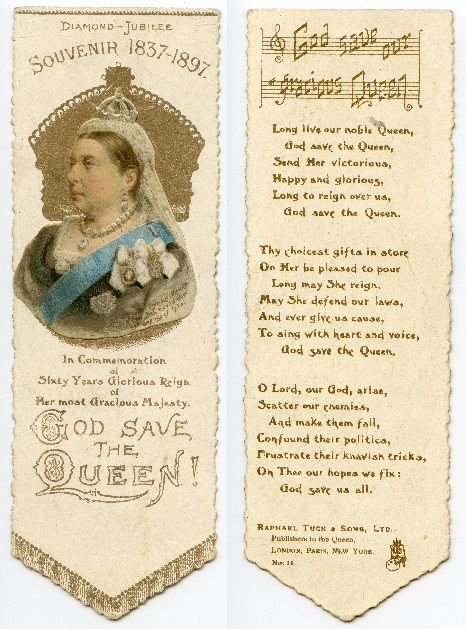 Queen Victoria 1897 - Diamond Jubilee - A Rafael Tuck and Sons issue (No 11) with the full three chorus National Anthem printed on the back