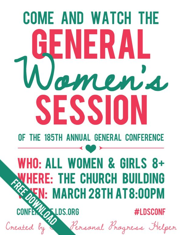 General Women's Session Invitation for General Conference Free Printable! Perfect for Relief Society, Young Women, and Primary girls!