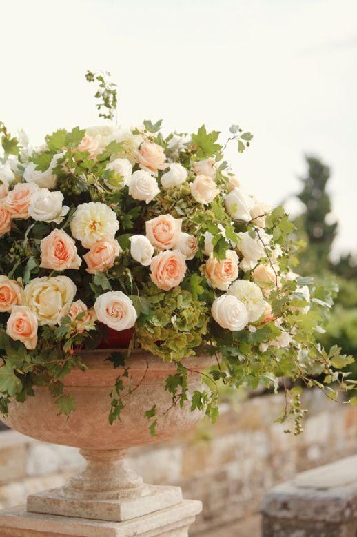 Make time for flowers, glass bottles: Peaches Rose, White Rose, Flowers Arrangements, Gardens Rose, Pink Rose, Floral Arrangements, English Rose, Cream Rose, Italian Wedding