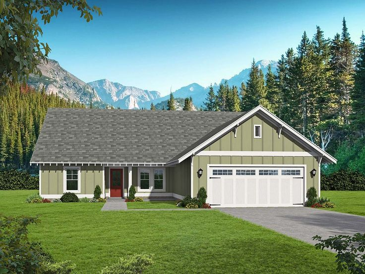Ranch Style House Plan 40826 with 3 Bed , 3 Bath , 2 Car