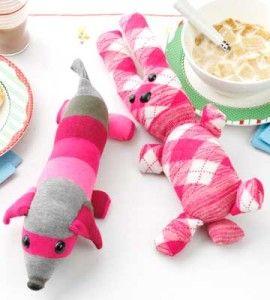 DIY dog and bunny sock animals