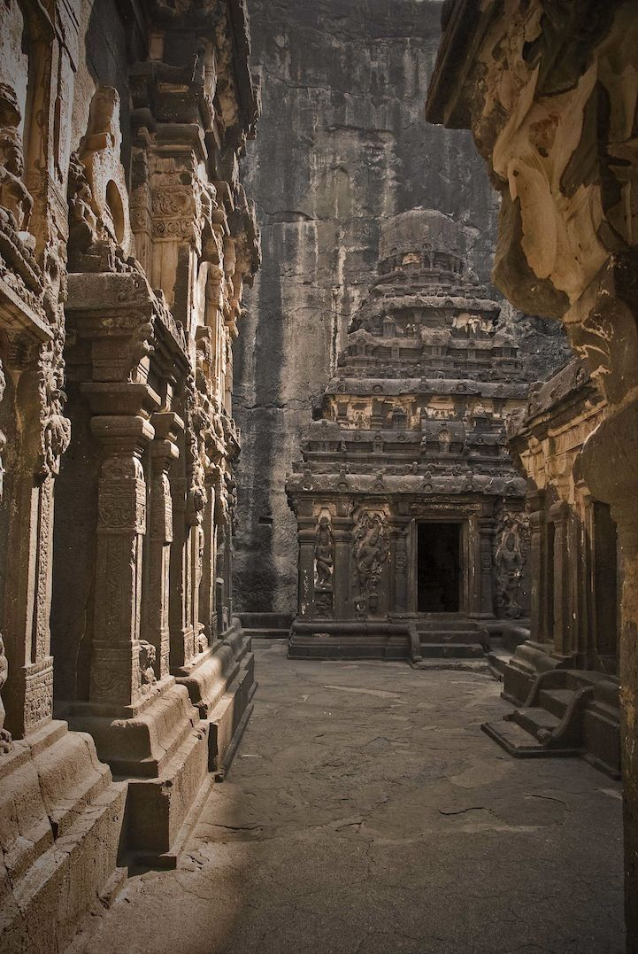 The 1,200-year-old Kailashnath Temple in Maharashtra, India, was carved top-down, with workers slowly unearthing the temple as they descended.
