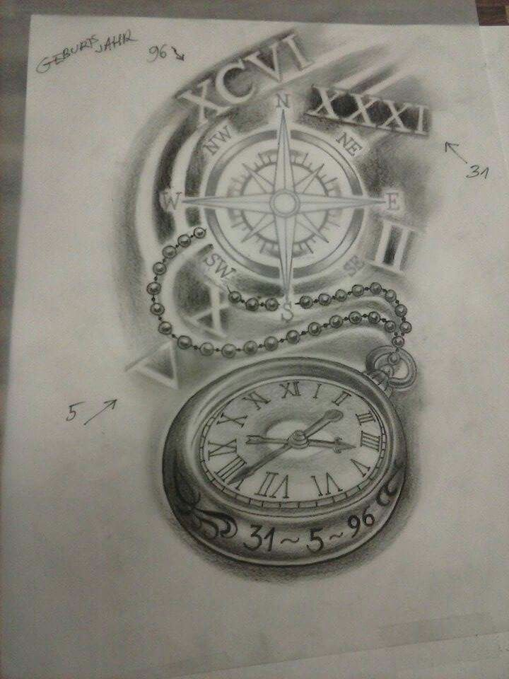 next part oberarm kompass uhr r misch tattoos pinterest. Black Bedroom Furniture Sets. Home Design Ideas