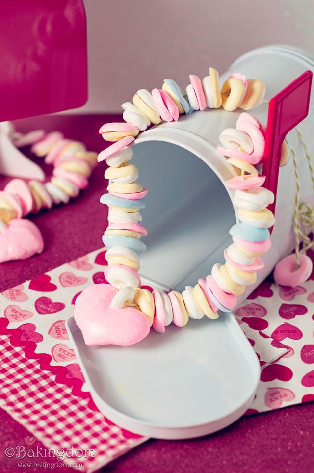 homemade meringue candy necklace for your valentine - diy