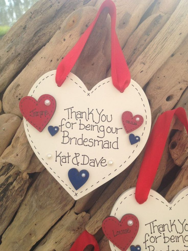 Personalised Plaque Heart Bridesmaid Pageboy Parents Wedding Thank You Gift