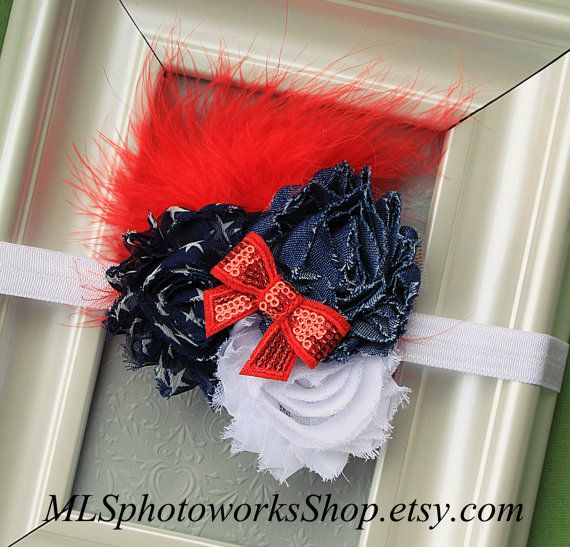 American Denim Headband  Red Navy and White Hair Bow with