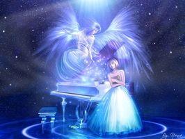 Anděl hudby, 3d, abstraktní, angel, anime, anime dívka, modrá, roztomilý, fantazie, Žena, holka, světlo, hudbu, prostor, hvězda, křídlo, fotografie - HDStockPhoto.com