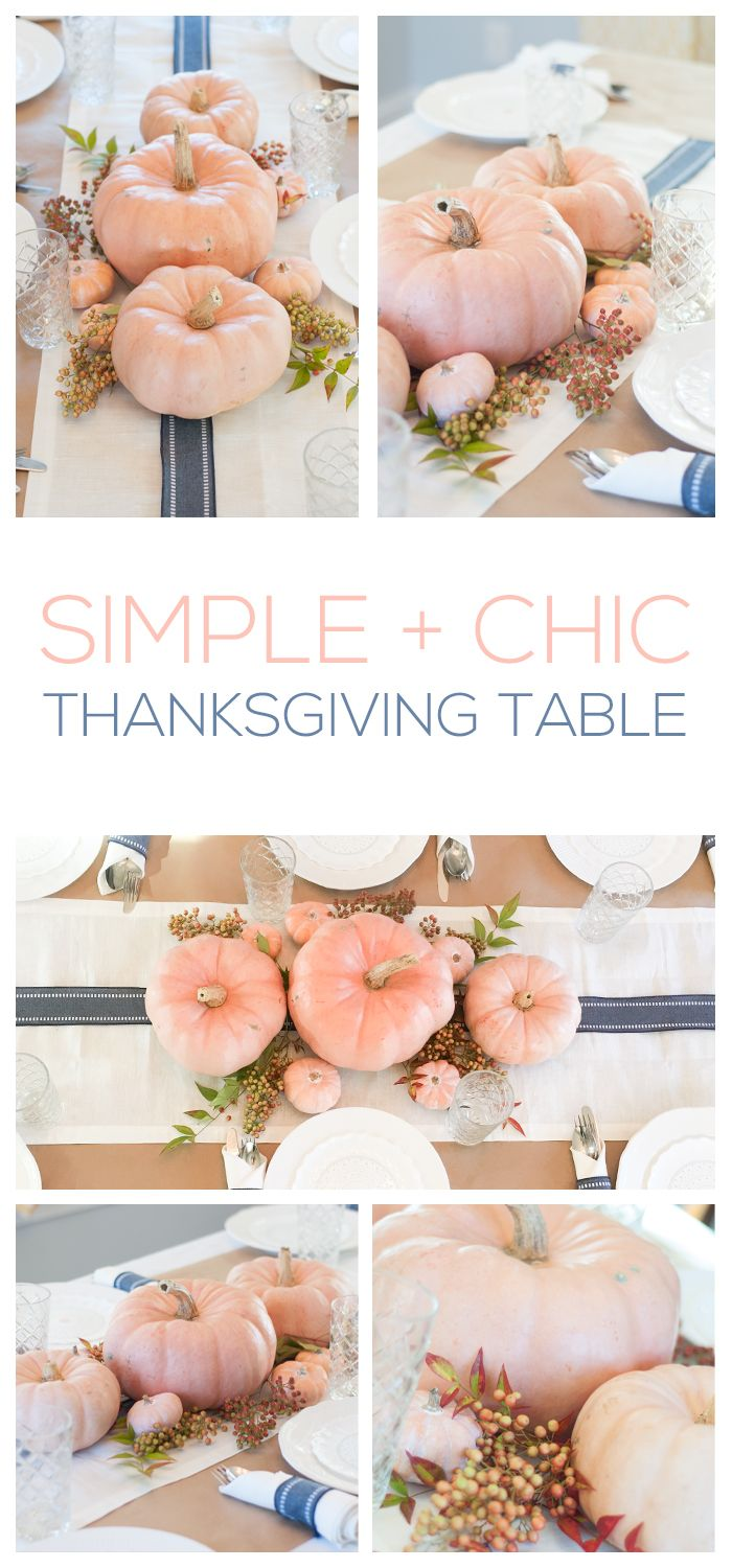 Thanksgiving Series Part 2: Simple + Chic Table Setting   modern and fresh creamy orange and navy blue Thanksgiving tablescape