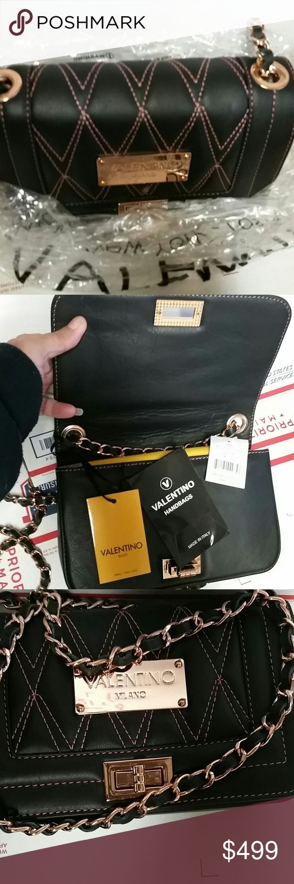 """1 DAY SALE! BNWT Valentino Milano w/pink stitching BRAND NEW WITH TAGS  AUTHENTIC VALENTINO MILANO  BLACK WITH PINK STITCHING  8"""" X 5"""" X2"""" BEAUTIFUL SHOULDER BAG  Comes with dust bag Valentino Bags Shoulder Bags"""