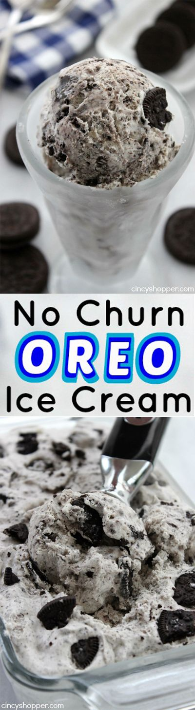 Homemade Oreo Ice Cream- Super Simple.  Just 4  ingredients with No machine needed. So much better than store bought.